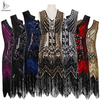 Women 1920 s Vintage Great Gatsby Dress Sequins Dress V-Neck Tassels Bodycon Beaded Party Dress Flapper Dresses Art Deco Double