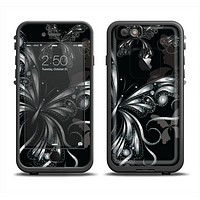 The Vibrant Black & Silver Butterfly Outline Apple iPhone 6 LifeProof Fre Case Skin Set