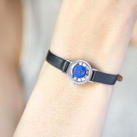 Women Watch Blue Face, Vintage Wristwatch Round, Women's Tiny Gift Watch, Roman numerals Watch Seagull Gift Retro, Leather Strap New