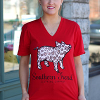 Leopard Pig Tee by SOUTHERN TREND {Red}