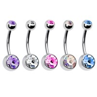 BodyJ4You 5PC Belly Button Rings 14G Crystal Silvertone Stainless Steel Curved Navel Barbell Set