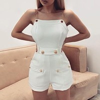 Women's trendy all-match metal sling slim fit jumpsuit