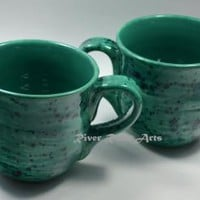 Large Sea Green Ceramic Mug Set (2)