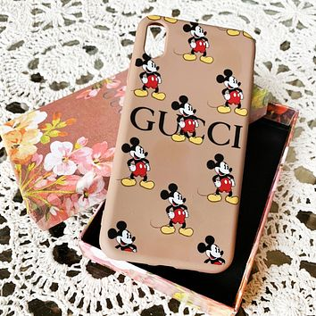 GUCCI New Cute Mickey Mouse Print iPhone Phone Cover Case For 7 7plus 8 8plus iPhone 11 iPhone X XR XS XS MAX PRO MAX