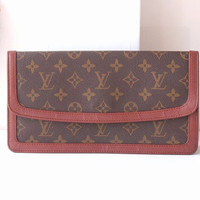 Louis Vuitton Bag Monogram Clutch Brown Authentic Vintage handbag purse 70s