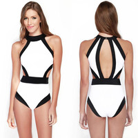 4 Color High Neck Swimwear One Piece Patchwork Swimsuit Halter High Waist Padded