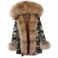 Women's overcoat Camo fur parka Jacket winter hooded fur Army green camouflage fur parkas hooded fur women's coat mid length fur parka jacket