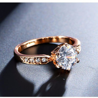 Engagement Rings for women Rose gold color Wedding rings female anel Austrian Crystals Jewelry