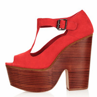 SWIRLY T-Bar Platform Shoes
