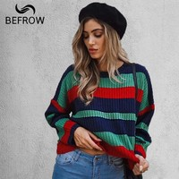 BEFORW Autumn And Winter New Sweater Women Round Neck Long Sleeve Stitching Loose Sweaters Top Harajuku Korean Clothes Womens