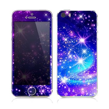 The Glowing Pink & Blue Starry Orbit Skin for the Apple iPhone 5s