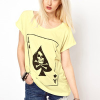 Beige Card A of Spades Skull Print Short Sleeve Graphic Tee