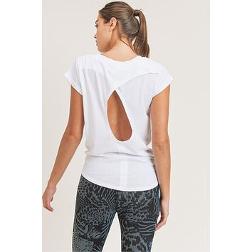 Mono B Overlay Cut-Out Back Athleisure Top