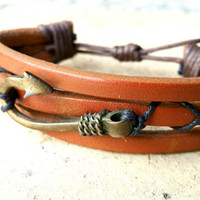 FREE SHIPPING-Mens Leather Bracelet, Woman Leather Jewelry, Brown Leather, Nautical Bronze, Leather Clasp, Leather Bracelet