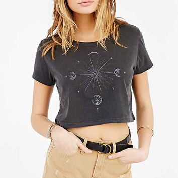 Truly Madly Deeply Moon Burst Cropped Tee- Washed Black