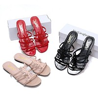 YSL Yves Saint Laurent Hot Sale Ladies Sandals Fashion All-match Slippers Shoes 1