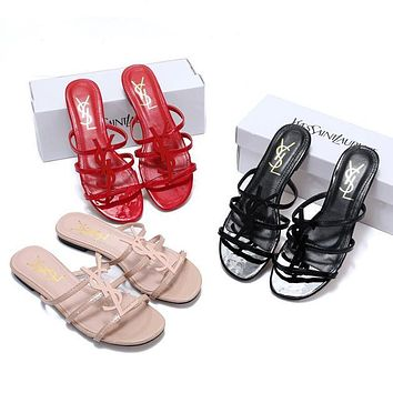 YSL Yves Saint Laurent Hot Sale Ladies Sandals Fashion All-match Slippers