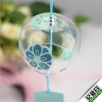 Handmade handpainting JAPANESE Traditional Culuture manga Glass Furin Wind Bell Chime windbell mujin flowers