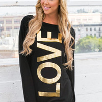 Black Top with Gold Foil Love