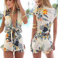 2015 Newest!! Women Sexy Fashion Flouncing Romper Straps Print Overall Jumpsuit