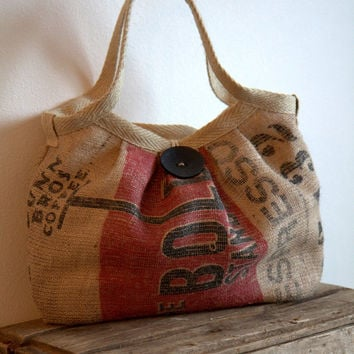 EcoFriendly Burlap Coffee Sack Bag with Large Button by Burlabags