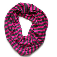 ready to ship pink and gray Stripe knit infinity scarf modern nautical