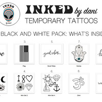 INKED by dani Temporary Tattoos: Black and White Pack