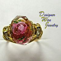 DWJ0233 Romantic Faceted Pink and Topaz Crystal Rose Gold Tone Wire Wrap Ring All Sizes