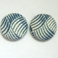 Button Earrings Grey Petroleum- Blue Abstract