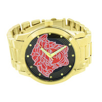 Red Black Medusa Watch Gold Tone Water Resist