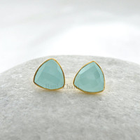 Aqua Chalcedony Faceted Trillion Gemstone Earrings, Gold Plated 925 Sterling Silver Stud Earrings gift jewelry, 9mm #1900