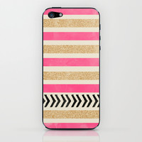 PINK AND GOLD STRIPES AND ARROWS iPhone & iPod Skin by Allyson Johnson