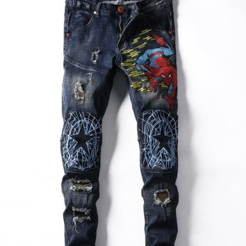 Embroidery Spider Patchwork Men Slim Jeans [3444985331805]