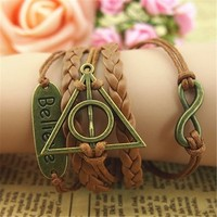 MagicPieces Believe Deathly Hallows Braid Infinity 5 Layers Brown Handmade MultiLayered Bracelet For Women's Teens Friendship Birthday Gift