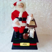 Vintage Dear Santa Musical Decoration Christmas Family Battery Mint Cond Plays Several Christmas Songs Santas List Holiday Home Decor Estate