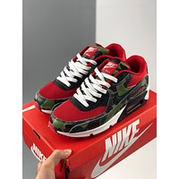 Nike Air Max 90 contrast leather mesh stitching retro air cushion cushioning running shoes