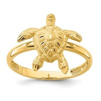 14k Yellow Gold Solid Brushed and Polished Sea Turtle Ring