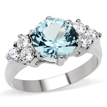 Unique Engagement Rings TK179 Stainless Steel Ring with Synthetic in London Blue