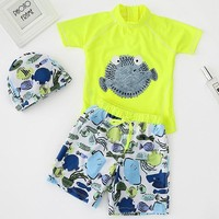 YK25 summer beach board kids boy swimwear cute cartoon fish printing swimsuit swim trunk shirt cap 3piece boy swim suit bikinis
