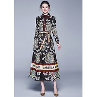 Dior 2019 new fashionable and all-around close waist show thin printed dress