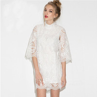 White Sheer Mesh High Neck Kimono Sleeves Embroidered Lace Mini Dress