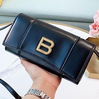 Balenciaga New fashion leather shoulder bag crossbody bag Black