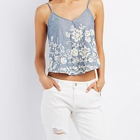 EMBROIDERED CHAMBRAY SWING TANK