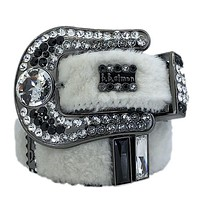 b.b. Simon Domino White Fur Swarovski Crystal Belt