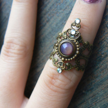 dragons breath midi ring armor ring rare blue lavender opal elfin cosplay
