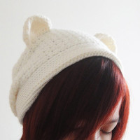 Bear Hat Polar Bear Beanie Women Hat in White Crochet by lapuzelo