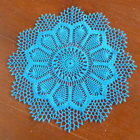 Peacock blue flower shaped crochet lace small doily