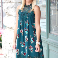 Beautiful Self High Neck Floral Dress {H. Green}