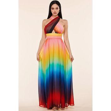 Sunset Rainbow Maxi Dress