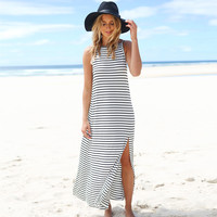 Striped Backless Maxi Slit Dress